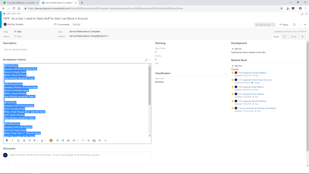 Copy Acceptance Criteria from a User Story in Azure DevOps