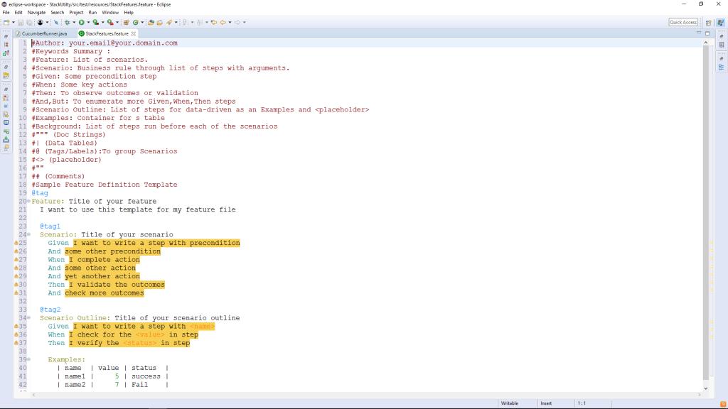 Default Feature file Eclipse
