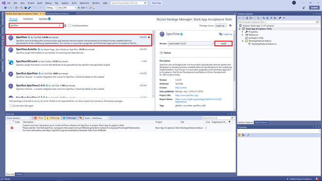 Install SpecFlow NuGet package