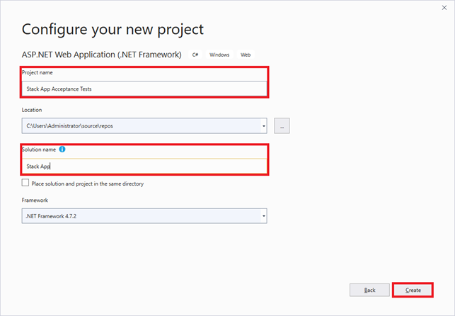 Configure new Project and Solution