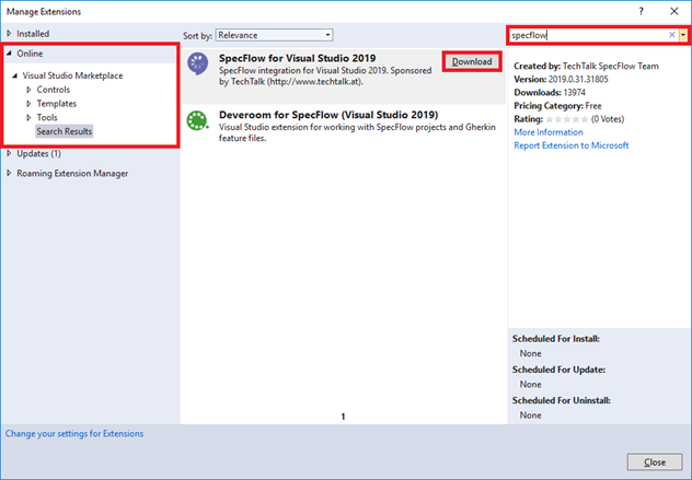 VS 2019 Install SpecFlow Extension
