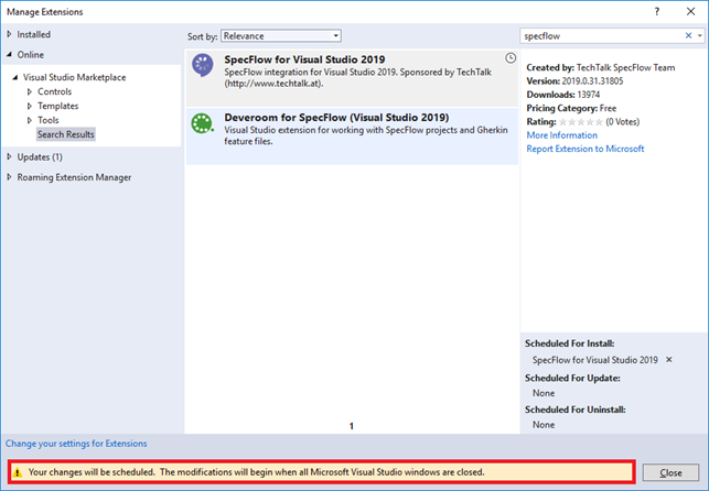 VS 2019 Close Visual Studio to complete SpecFlow Extension Installation